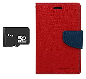 PREGO 8GB SD Micro Memory card Card With Red Mercury Goospery Fancy Diary Wallet Flip Cover For Micromax A116 Canvas HD
