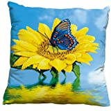 Sunfower and Butterfly 3D Stamped Cross Stitch Cushion