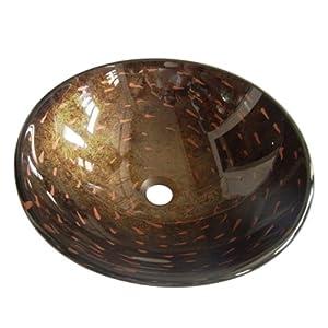 Kingston Brass EVSPFB1 Bologna Glass Vessel Sink with 16-1/2-Inch Diameter, Amber Bronze at Sears.com