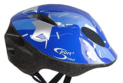 Sport Direct Boy's Silver Stars Bicycle Helmet - Blue, Size 48-52 by Sport Direct