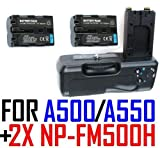 Battery Grip VG-B50AM for Sony Alpha DSLR-A500 & A550 w/ Two (2x) NP-FM500H Lithium-Ion Batteries