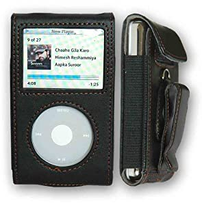 CrazyOnDigital Premium Leather Case Apple iPod Video/Classic Retail Package-Black