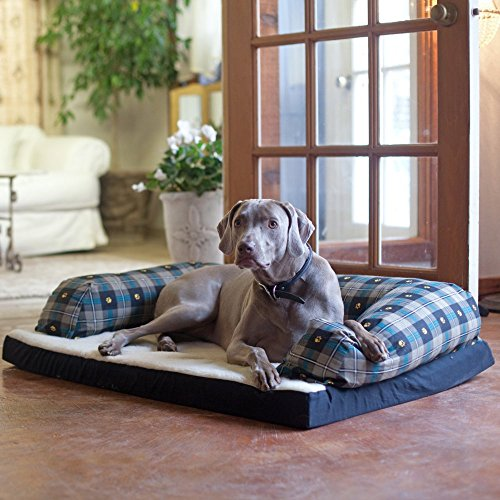 Beasleys Couch Dog Bed - Teal Pawprint Plaid