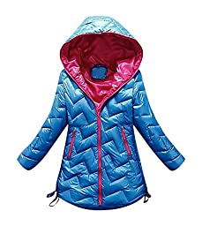 Pupik, Big Girls Lightweight Soft Warm Hooded Puffer Coat Winter Outerwear, Blue 13