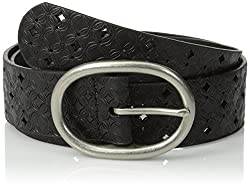 Fossil Women's Signature Perforated Belt, Black, Small