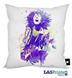 MARC BOLAN PURPLE & GREEN WATER COLOUR DESIGN CUSHION 18