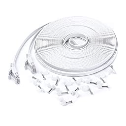 Eightwins-Ethernet Cable Cat6 Flat 100ft White,Network Cable Cat 6 Flat Slim Ethernet Patch Cable, Internet Cable With cable nails-100 Feet White(30 meters)