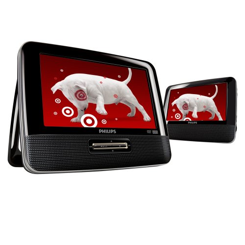 Philips PET7402/37 7-Inch Dual Screen Portable DVD Player with Car Mount, Black