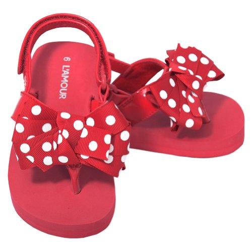 L'Amour Toddler Girls 9 Red Polka Dot Bow Wedge Flip Flops Sandals