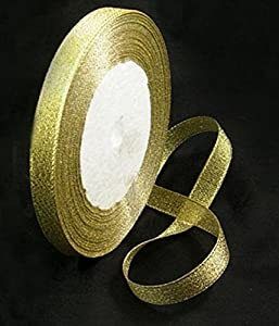 1 x 25 yards Organza Ribbon - GLITTER SHINY GOLD - 6mm wide - 25 yards per reel/roll - Beads and Charms from Beads and Charms
