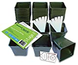 """Set of 36 Plastic Nursery Plant Pots, """"Seed Shaker"""" Card and 5 Plant Labels. Color: Green, Seedling Containers"""