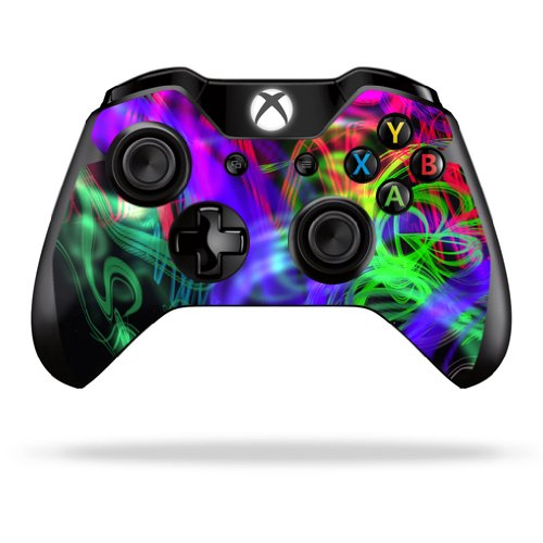 Protective Vinyl Skin Decal Cover for Microsoft Xbox One Controller Sticker Skins Neon Splatter portable dual charger station set for microsoft xbox one controller black