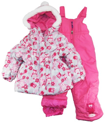 Best Price Pink Platinum Infant Girls 12-24M Strawberry Owl Printed Jacket Snowsuit Set