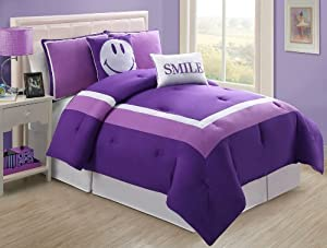Amazon Com 4 Pc Modern Purple And White Girls Comforter