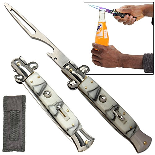 Automatic Style Stiletto Bottle Beer Soda Switchblade Opener Mystic Marble (Stiletto Bottle Opener compare prices)