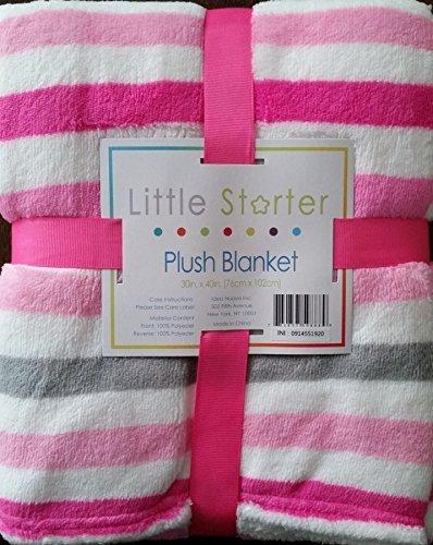 Little Starter Plush Blanket in Light & Dark Pink with Grey Stripe - 1