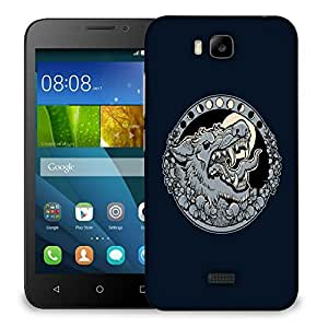 Snoogg Grey Wolf Roaring Designer Protective Back Case Cover For HUAWEI HONOR 7