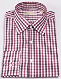 Michael Kors Mens Regular Fit Cranberry Check Dress Shirt 100% Cotton