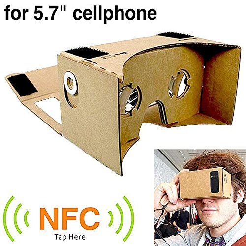 SeresRoad® @BIGGER VERSION@Large Assembled DIY Cardboard VR Virtual Reality 3D Glasses w/ NFC Tag for 4-5.7 inch Cellphones–perfect fits Samsung Note 3,iphone 6 Plus 5.5inch (BIGGER SIZE)