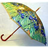 """Irises"" by Van Gogh Full Size Stick Art Umbrella with Automatic Push Button Opening ~ Diva Joy"