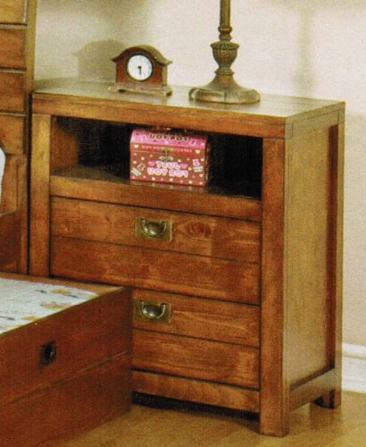 Nightstand With Open Shelf In Rustic Oak Finish front-943114