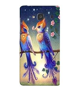Fuson Love Couple Birds Back Case Cover for XIAOMI REDMI 2A - D3924