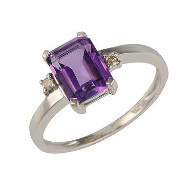Ivy Gems 9ct White Gold Princess Cut Amethyst and Diamond Ring