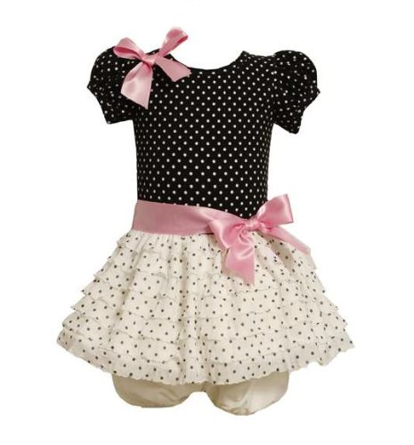 Bonnie Baby Baby-Girls Infant Eyelash Dot Dropwaist Dress, Black, 24 front-887777
