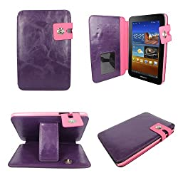 Aquarius® CEO Leather Buckle Open Wallet Case Cover for Samsung Galaxy Tab 2 7.0 P3100/P3110/P6200 Android Tablet with Debit/Credit/Oyster Card Holder and Viewing Stand Feature and Built in Holder/Housing - Purple