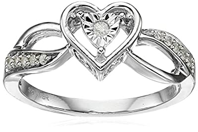Classic Heart with White Diamond Sterling Silver Ring (1/10cttw, I-J Color, I2-I3 Clarity)
