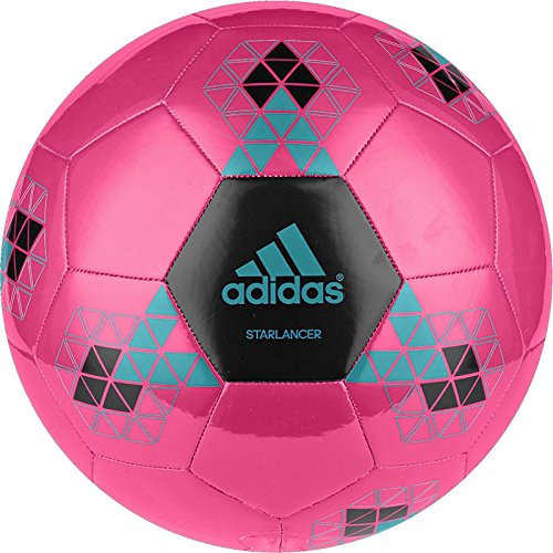 adidas Performance Starlancer V Soccer Ball, Shock Pink/Solar Lime Green/Shock Blue, 4