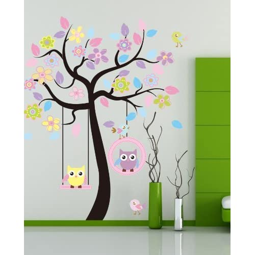 Huge Removable Swing Owl & Birds Colorful Scroll Tree Wall Art Decal Stickers for Nursery