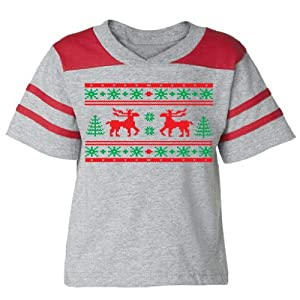 Festive Threads Christmas Sweater (Moose Design) - Toddler Football T-Shirt