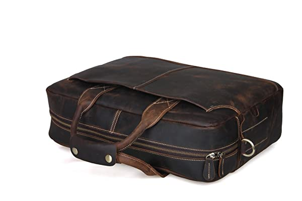 Texbo Genuine Leather Men's Briefcase Messenger Tote Bag Fit 17