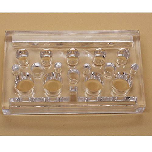 Q-COOL Acrylic Clear Rectangle Ink Cup Caps Holder Stand for Permanent Makeup Machine