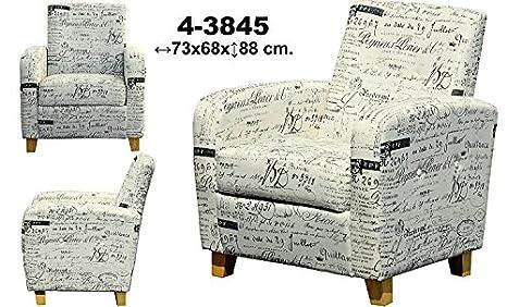 DonRegaloWeb - Sillón de madera tapizado de tela con palabras en color suave