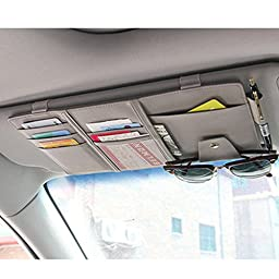 AUTO ACCESSORIE S Car Sun Visor Multi-Pocket Card Sunglasses Holder Bag Organizer (Grey)