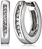 Sterling Silver Channel-Set Diamond Huggie Hoop Earrings (1/10 cttw, I-J Color, I2-I3 Clarity)