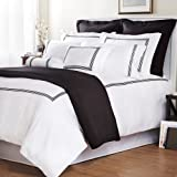 Roxbury Park Baratto Duvet Set Queen with Tripple Black Embroidered Stripes