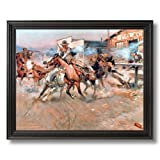 Russell Pistol Western Cowboy Horse Landscape Animal Home Decor Wall Picture Black Framed Art Print