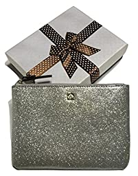 Kate Spade Mavis Street Sparkling Silver Signature Mini Pouch WLRU2390 with Gift Box
