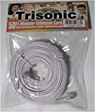 Trisonic 50 feet Telephone Extension Cord Phone Cable foot - White