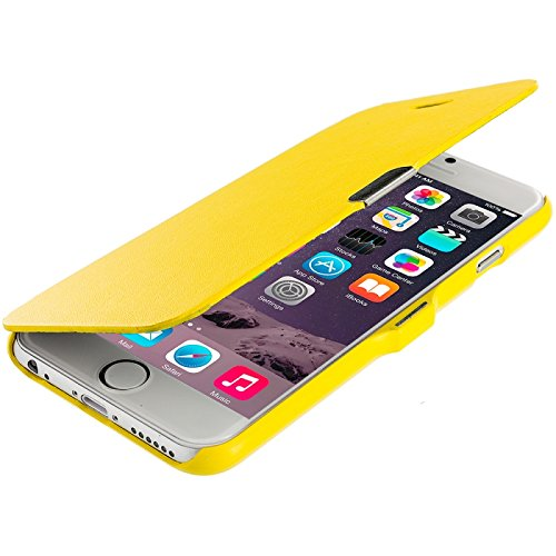 Cell Accessories For Less (Tm) Yellow Magnetic Wallet Case Cover Pouch For Apple Iphone 6 (4.7) + Bundle (Stylus & Micro Cleaning Cloth) - By Thetargetbuys front-997507