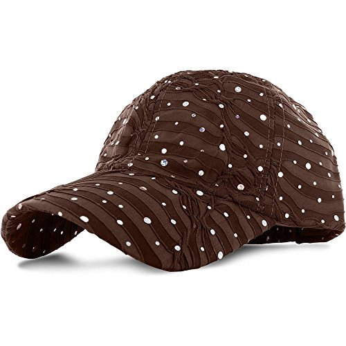 [Brown_100% Polyester Glitter Baseball Cap Golf Hat Rhinestone (US Seller)] (Miniture Top Hats)