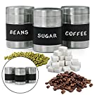3pc Stainless Steel Kitchen Canister Set 5  Jars with Writeable Chalkboard Label