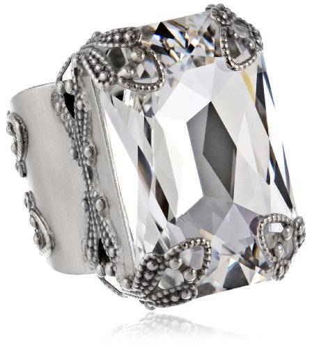 Sorrelli Crystal Clear Classic Statement Antique Silver Tone Cocktail Adjustable Ring