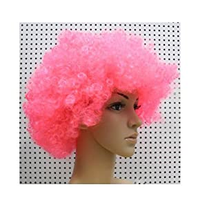 Generic Afro Curly Wig Facial Hair for Football Fans Theme Party Halloween Clown Costume(Red)