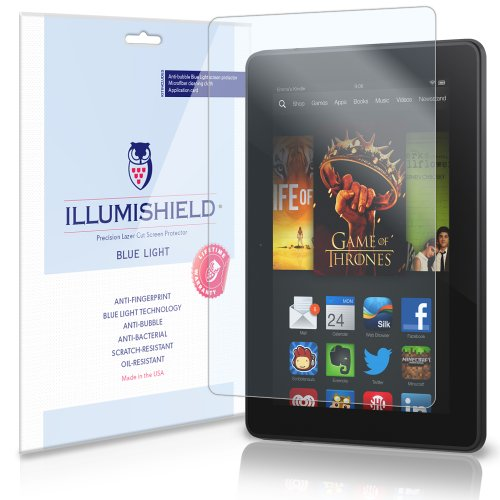 Illumishield - Amazon Kindle Fire Hdx 7 Wi-Fi Lte (Hd) Blue Light Uv Filter Screen Protector Premium High Definition Clear Film / Reduces Eye Fatigue And Eye Strain - Anti- Fingerprint / Anti-Bubble / Anti-Bacterial Shield - Comes With Free Lifetime Repla