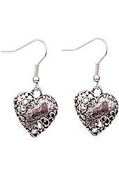Yazilind Grace heart shape dangle unique distorted pattern Ear Wire Hook Dangle Earrings