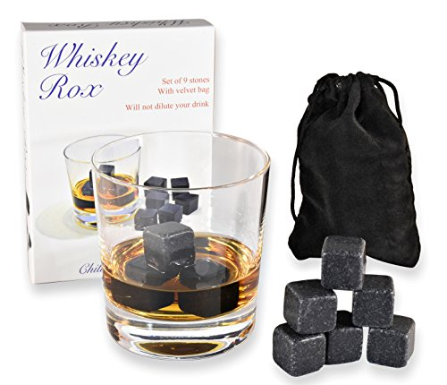 WHISKEY ROX - BLACK WHISKEY STONES (Set of 9) - Natural Polished Black Granite Stone - Reusable Scotch Rocks - Premium Whisky Chilling Cubes - Better Than Ice - Gift Box - BONUS: Black Velvet Pouch